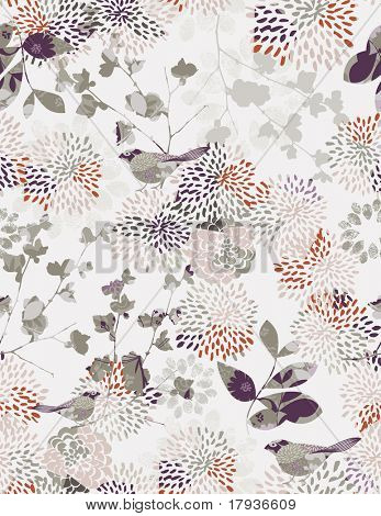 Vector seamless pattern displaying Japanese garden.