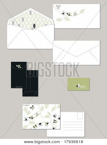 Personal stationery in standard dimensions containing lined envelope  post and business card.