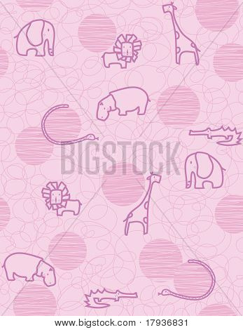 Vector seamless pattern showcasing cute little baby safari animals