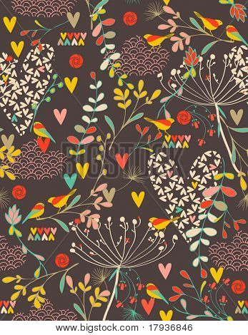 Vector seamless pattern displaying retro style birds and hearts.