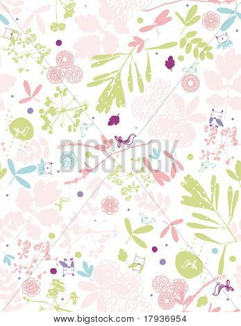 Vector seamless pattern displaying floral and little critters.