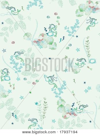 Vector Aqua Mermaid (seamless pattern)