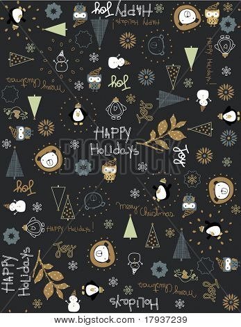 Vector baby Vintage Christmas (Seamless Pattern)