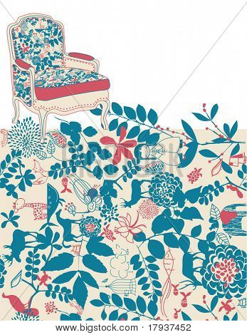 Vector Furniture and Floral Pattern seamless with children's graphics