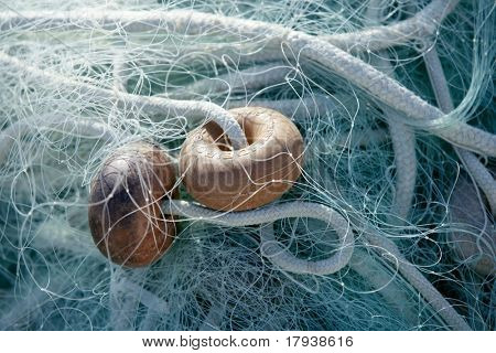 Fishing boat equipment detail: net, arts macro. Mediterranean sea