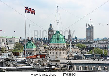 Rooftop View Over Whitehall, London, England, Uk, With The Roof Of The Old Admirality Building In Th