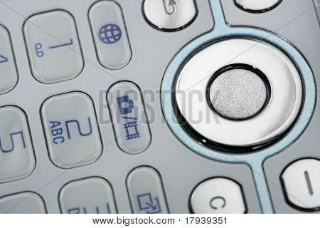 Detalle de teclado de macro móvil, electrónica closeup
