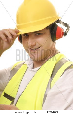 Friendly Tradesmen Tipping His Hat