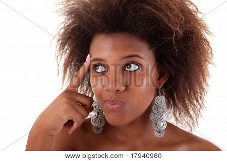 Beautiful Black  Woman, Having An Idea, Isolated On White Background