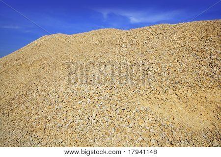 yellow gravel sand quarry mountain for construction concrete