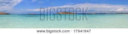 Panoramic Illetas view turquoise Mediterranean horizon Formentera Balearic islands Illetes