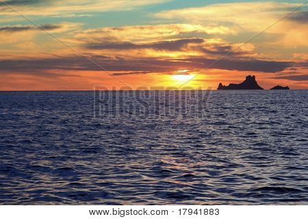 ibiza sunset Es Vedra from Formentera balearic Islands
