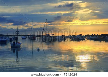 Estany des peix lake yellow blue sunset in Formentera Balearic islands