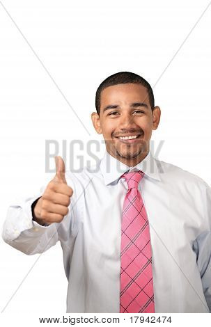 Smiling man thumbs up