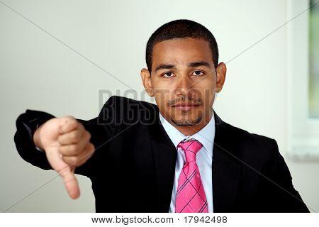 Unhappy man thumbs down