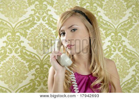 retro telephone woman fashion vintage wallpaper background