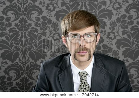 businessman nerd retro glasses geek portrait on vintage wallpaper