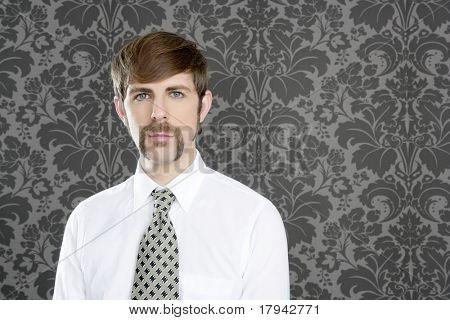 businessman retro mustache over gray wallpaper tie and shirt