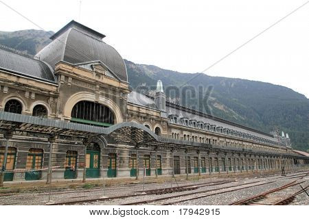 Canfranc railway station old monument in Spain frontier with France
