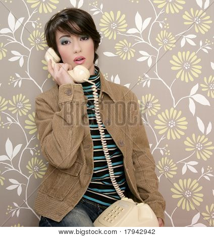 talking telephone retro woman on vintage wallpaper wall