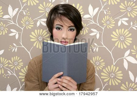 book reading shy woman retro 60s vintage wallpaper