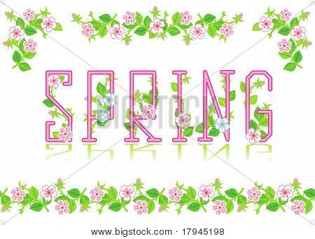 Spring heading, divider, corners, seamless border
