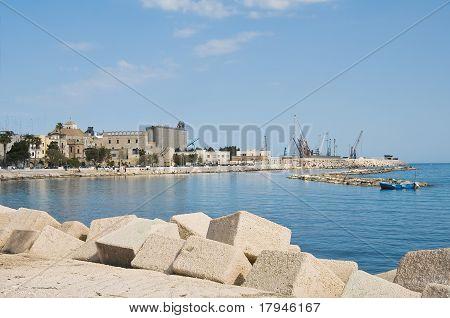Panoramic view of Bari seaport. Apulia.