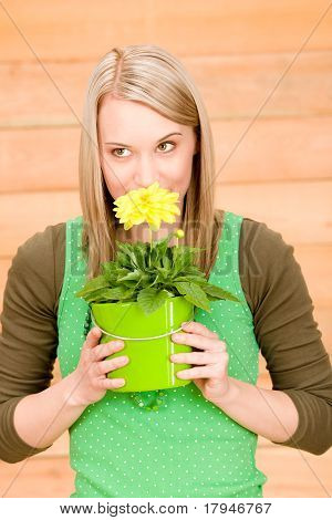 Portrait Happy Woman Smell Yellow Spring Flower