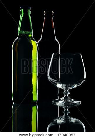 Bottles Of Beer, Isolated On A Black Background