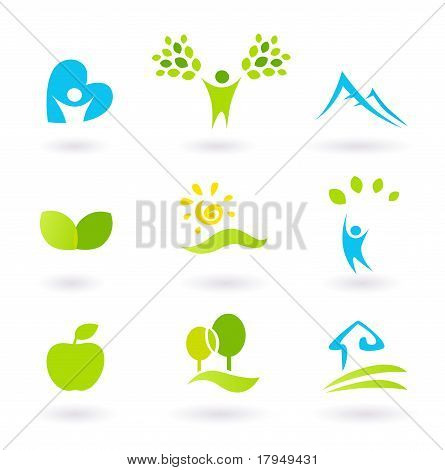 Nature, Landscape, People And  Organic Icons And Symbols - Green And Blue.