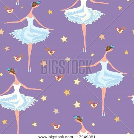 Ballet seamless pattern with girls