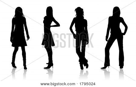 Four Fashion Girls Silhouettes