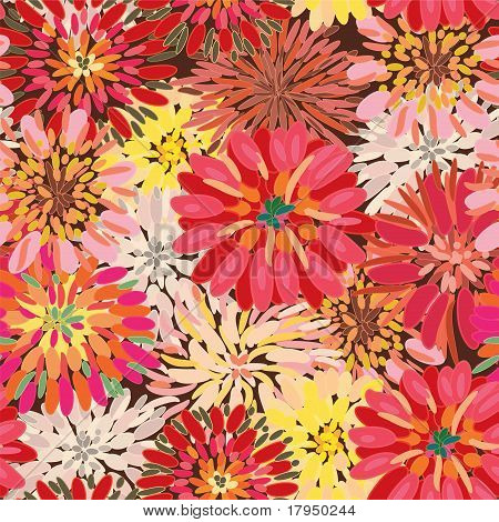 Seamless ornate floral pattern with herberas