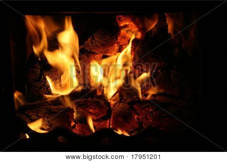 fire in black chimney