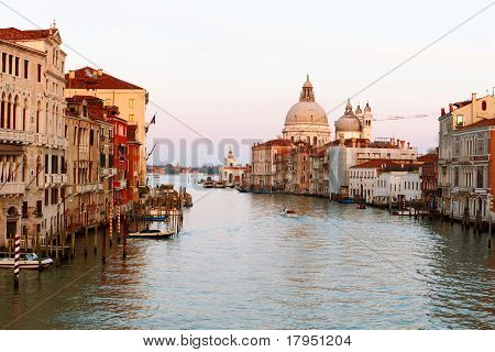 Grand Canal And Basilica Di Santa Maria Della Salute In Venice.