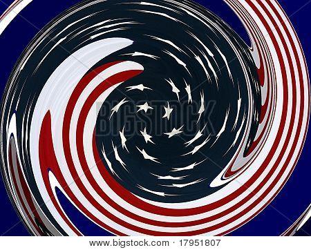 American Flag Swirling Graphic Design