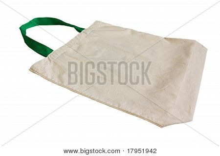 White Cotton Bag  Isolated On White Background.