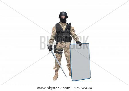 modern knight isolated on white