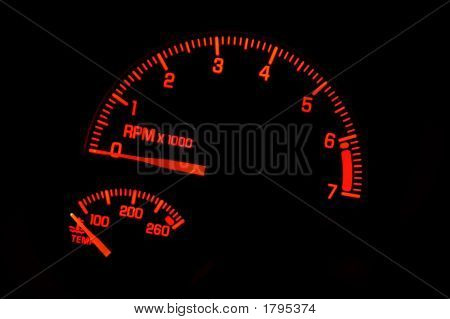 Dashboard Tachometer Temperature Gauge