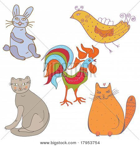 Set of funny cartoon animals