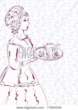Vintage waitress sketch with coffee pattern