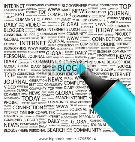 Blog. Highlighter over background with different association terms. Vector illustration.