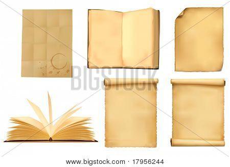 Set of old paper sheets. Vector illustration.