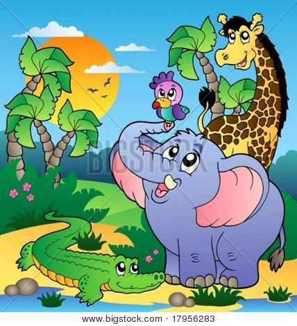 African scenery with animals 2 - vector illustration.