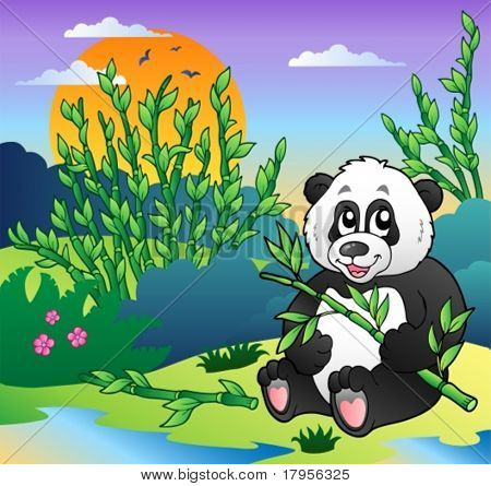 Cartoon panda in bamboo forest - vector illustration.