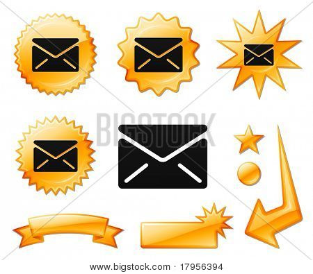 Envelope Icon on Orange Burst Banners and Medals Original Vector Illustration