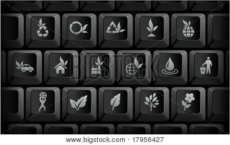 Nature Icons on Black Computer Keyboard Buttons Original Illustration