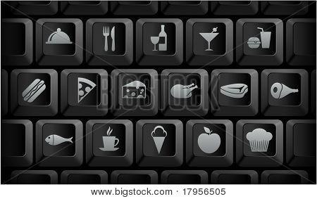 Food Icons on Black Computer Keyboard Buttons Original Illustration