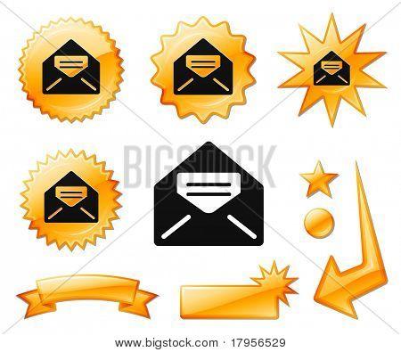 Envelope Icon on Orange Burst Banners and Medals Original Vector Illustration