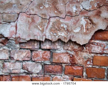 Red Crumbling Wall Decay